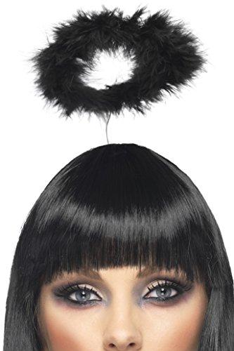 Black Ladies Marabou Halo (Fallen Angel Halloween Hair)