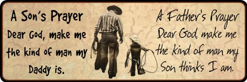 Cowboy Father Son Prayer Wall Mounted Plaque Hanging Indoor Outdoor Decorative Tin Sign Western Accent Hat Boots Rope Home Room Remembrance Ornament