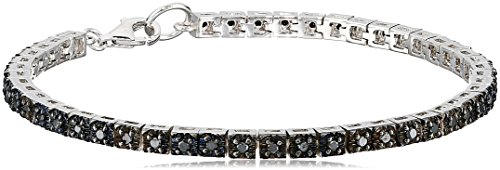 Sterling Silver Black Diamond Tennis Bracelet (1cttw, I2 Clarity) by Amazon Collection