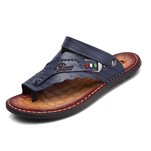 SUNROLAN shenlan222-42 Arno Mens Microfiber Leather Universal Sandals Toe Ring Style House Flat Sandals Shoes (9 D(M) US, Dark - Arno Leather