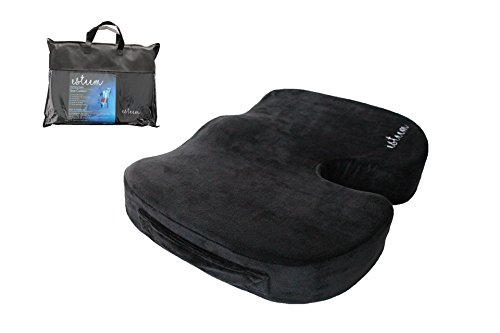 Memory Foam Seat Cushion for Orthopedic Back Pain Tailbone Sciatica Coccyx Pillow Office Chair Car Airplane Wheelchair Travel (Chair Padding Office)
