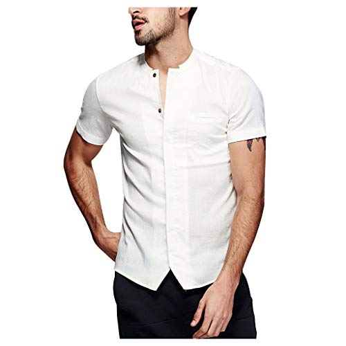 (Mens Linen Henley Shirt Casual Short Sleeve T Shirt Pullovers Tees Retro Frog Button Cotton Shirts Beach Tops,MmNote)