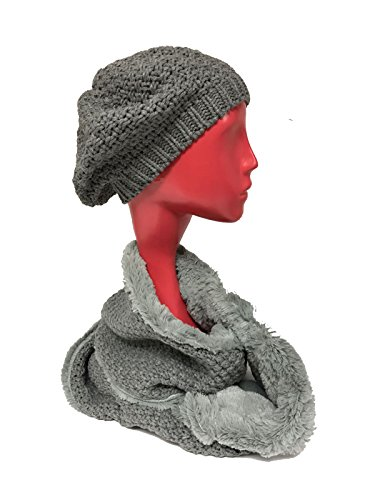 W4W Womens Winter Warm Sherpa Fleece Lined Knit Infinity Scarf With Complementing Slouchy Knitted Beret Beanie Hat