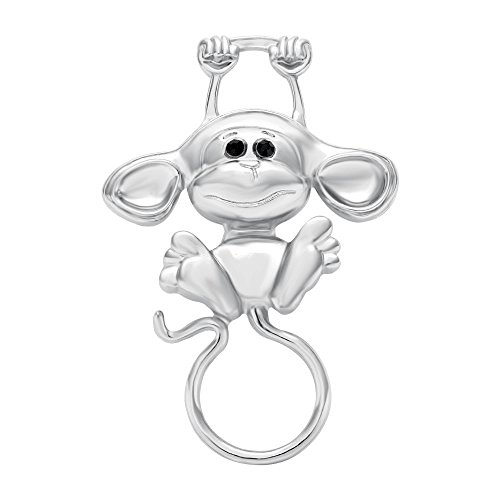 SENFAI Latest Lovely Magnetic Reading Glasses Holder Clip Multi-function Monkey Brooch (Silver) Glass Silver Brooch