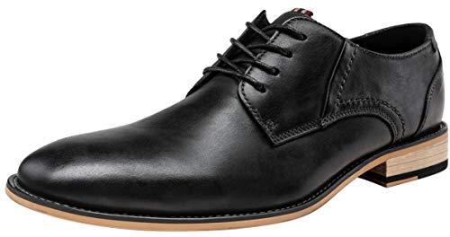 JOUSEN Men's Oxford Retro Leather Formal Dress Shoes (9,Black)