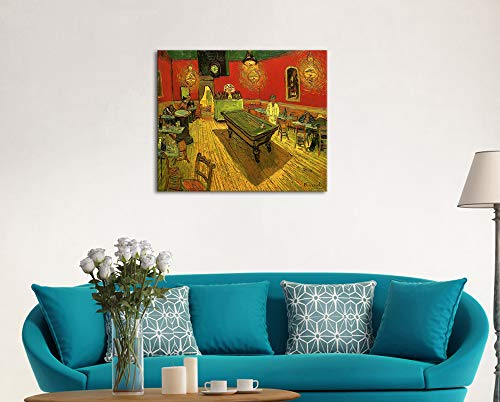 Wieco Art Large Classic Canvas Prints Wall Art The Night Cafe in The Place Lamartine in Arles by Van Gogh Famous Abstract Oil Paintings Reproduction Artwork Giclee Pictures for Home Office Decor