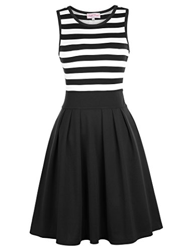 (Belle Poque Women Sleeveless Summer Dress Black Stripped Casual Dress Size L BP312-1)