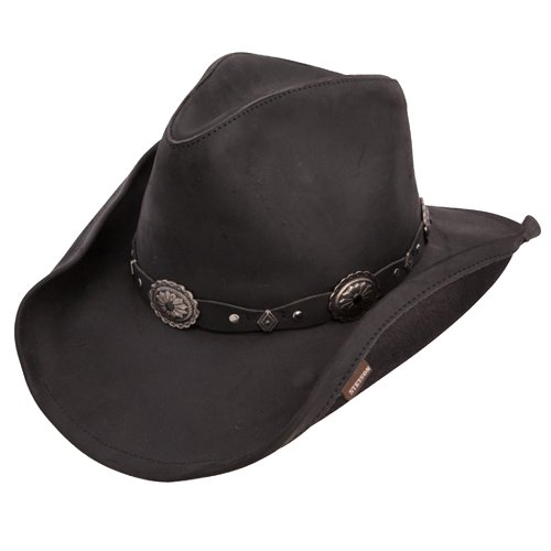 Stetson Small Black Roxbury Shapeable Leather Western Hat (Stetson Rodeo)