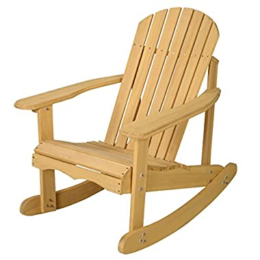 Goplus® Outdoor Natural Fir Wood Adirondack Rocking Chair Patio Deck Garden Furniture