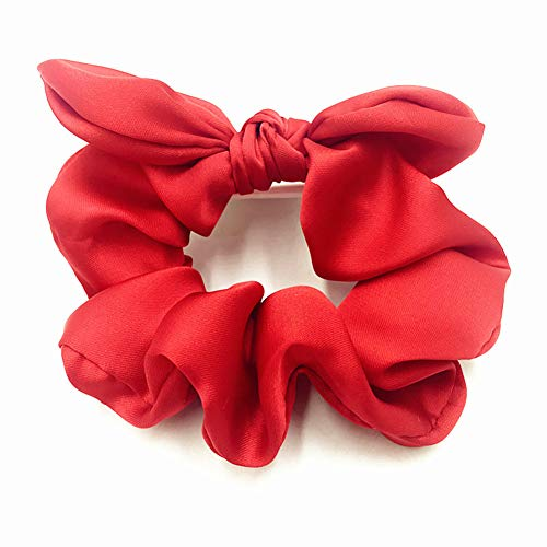 20PCS Wholesale Satin Silk Scrunchies Ponytail Holder Elastic HairBand Scrunchie Set Pack with Bunny Ear Headwear Hair Accessory Red ()