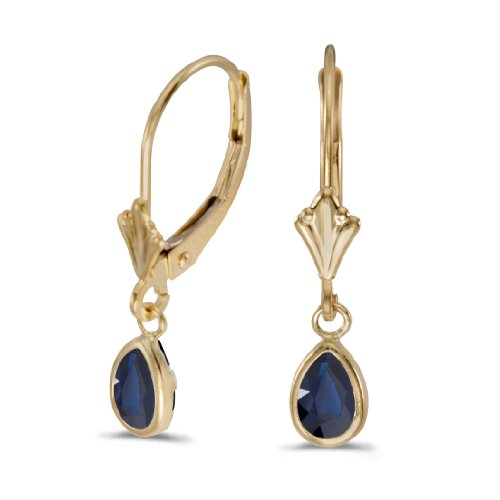 14k Yellow Gold Pear Sapphire Bezel Lever-back Earrings ()