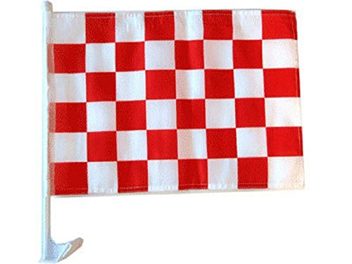 ALBATROS 12 in x 18 in Red White Checker Checkered Race Car Window Vehicle Flag for Home and Parades, Official Party, All Weather Indoors Outdoors