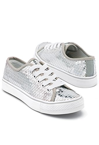Balera Sequin Low Top Dance Sneakers Silver 7AM by Balera
