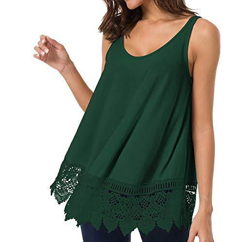 Romanstii Long Tank Tops - Casual Cute Top Sleeveless Shirts Dressy Tops Stretch Loose Lace Trim Green M