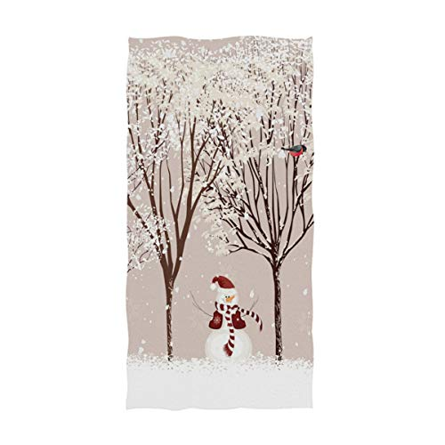 Naanle Christmas Decor Winter Dressed Snowman Bird Tree Soft Bath Towel Highly Absorbent Large Hand Towels Multipurpose for Bathroom, Hotel, Gym and Spa (16