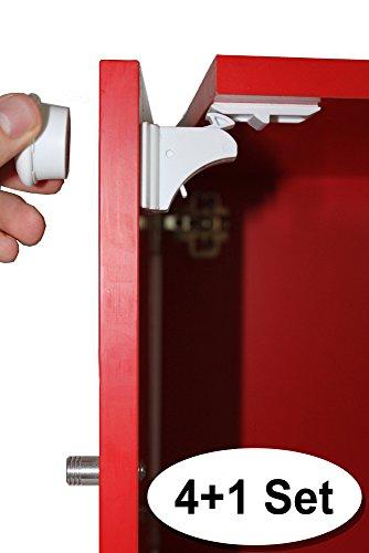Kindersicherung - Das unsichtbare Magnetschloss für Schranktüren und Schubladen; 4+1 Set; Einfache Montage ohne Werkzeug; Keine Kratzer, kein Bohren, kein Hämmern; Top-Qualität; 100% Zufriedenheitsgarantie