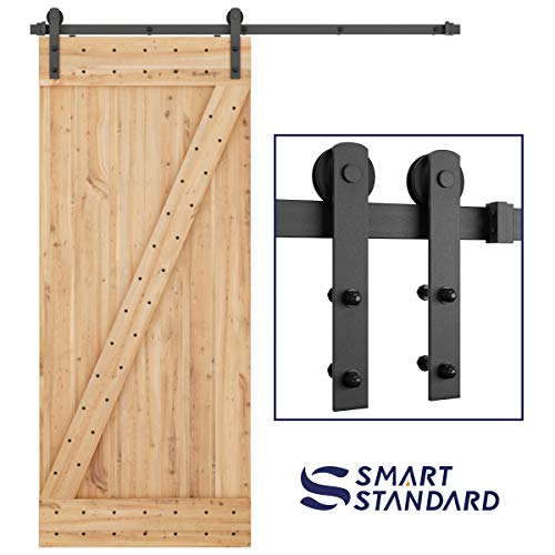 SMARTSTANDARD 6ft Heavy Duty Sturdy Sliding Barn Door Hardware Kit -Smoothly and Quietly -Easy to Install -Includes Step-by-Step Installation Instruction Fit 36 Wide Door Panel (I Shape Hanger)