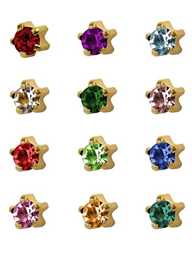 12 Pairs of Studex Ear Piercing Birthstones Gold Plated Stud Earrings Large 5mm Claw Setting by Studex
