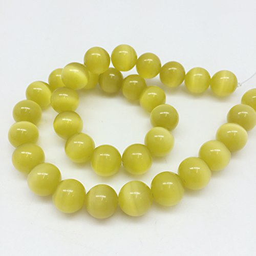 (PEPPERLONELY Brand 33 PC (Apprx 77Grams) Round Yellow Cat Eye Beads, 12mm(1/2)