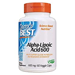 Doctor's Best Alpha-Lipoic Acid, Non-GMO, Gluten Free, Vegan, Soy Free, Promotes Healthy Blood Sugar, 600 mg, 60 Veggie Caps