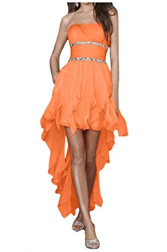 Gorgeous Bride Zaertlich Traegerlos Hi-Lo Chiffon Kristall Cocktailkleider Ballkleider Partykleider Orange H4qVd2e