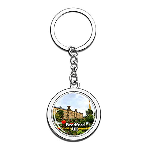 Bradford Salts Mill UK England Keychain 3D Crystal Creative Spinning Round Stainless Steel Keychain Travel City Souvenir Collection Key Chain Ring