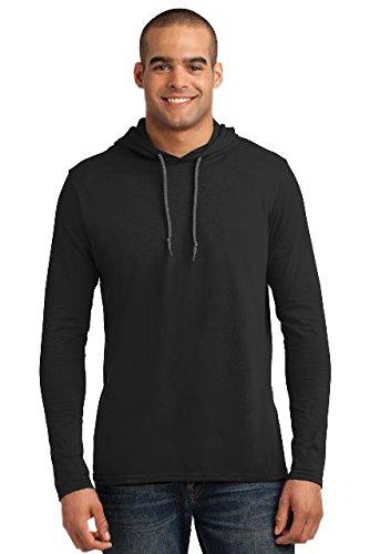 Anvil Lightweight Long Sleeve Hooded T-Shirt, Black/Dark Grey, X-Large