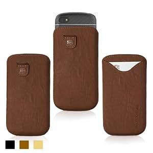 Blackberry Q10 Case, SnuggTM - Brown Leather Pouch Case with Card Slot & Soft Premium Nubuck Fibre Interior - Protective Blackberry Q10 Sleeve Case Cover - Includes Lifetime Guarantee