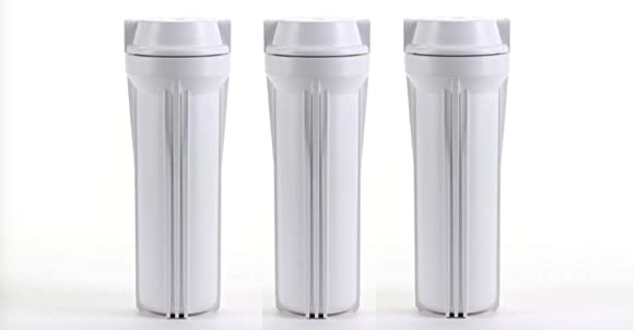Pack of 3 Reverse Osmosis 10 Filter Housing Sump Canisters Slimline White 1 4