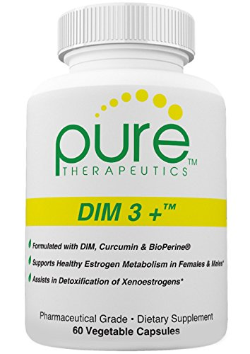 DIM 3 + (2 month supply) 60 Vegan Caps | DIM-200mg, Curcumin-250mg & BioPerine-2.5mg | Supports Healthy Estrogen Metabolism in Men & Women | Natural Aromatase Inhibitor | Pharmaceutical - Healthy Estrogen