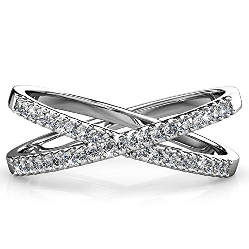 Black Swan Womens Criss Cross Ring X Ring Micropave CZ Inlay Platinum Plating Size 7