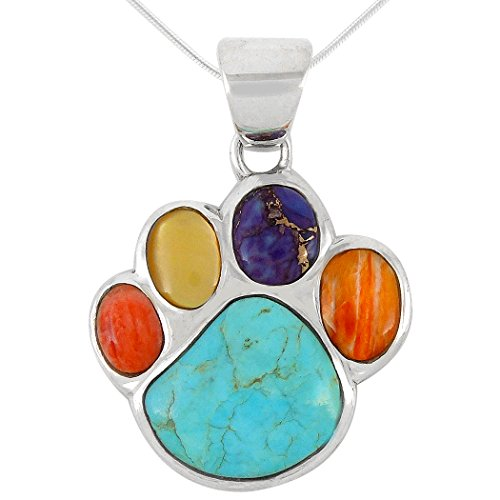 (Dog Paw Pendant Necklace 925 Sterling Silver Genuine Turquoise & Gemstones (20
