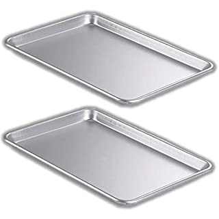 """Bakeware Set – 2 Aluminum Sheet Pan – Half Size (13"""" x 18"""") – for Commercial or Home Use. Non Toxic, Perfect Baking Supply set for gifts, for new and experienced bakers alike"""