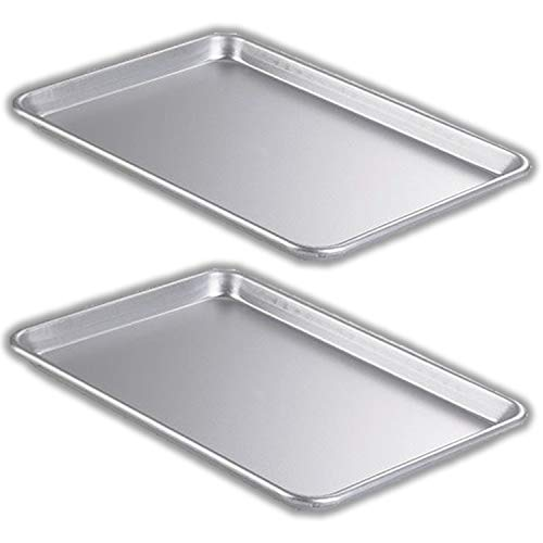 "Bakeware Set – 2 Aluminum Sheet Pan – Half Size (13"" x 18"") – for Commercial or Home Use. Non Toxic, Perfect Baking Supply set for gifts, for new and experienced bakers alike"