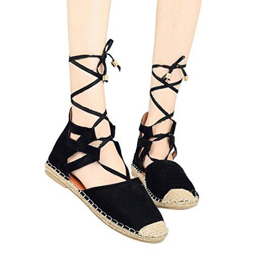 Paille Noir Cheville Casual Bride Dame Cru Espadrilles La Romaine Hlhn Talon Lacées À Femmes Chaussures Sandales De Plat nqTvwYRa