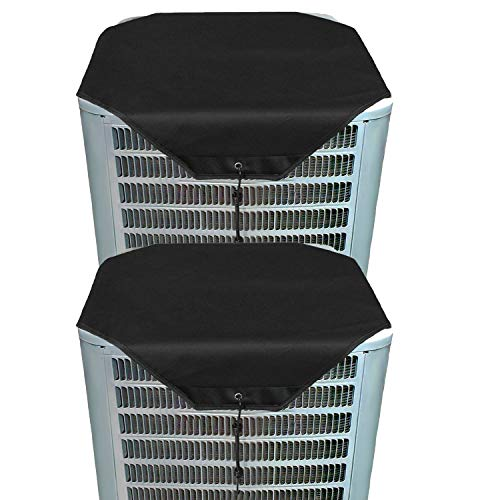 "ZMAYI Ac Unit Cover - Conditioner Top Air Conditioner Leaf Guard Air Conditioner Cover for Outside Units (2 pcs Black Oxford, 36"" X 36"")"