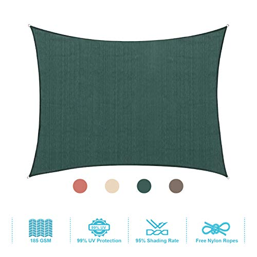 PHI VILLA Sun Shade Sail Square 10'x10' Dark Green Patio Canopy Cover - UV Bloack - for Patio, Garden, Yard, Pergola
