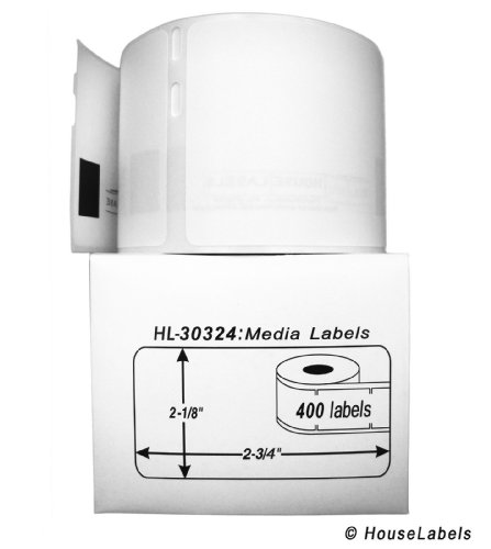 "DYMO-Compatible 30324 Media Labels (2-1/8"" x 2-3/4"") -- BPA Free! (6 Rolls; 400 Labels per Roll)"