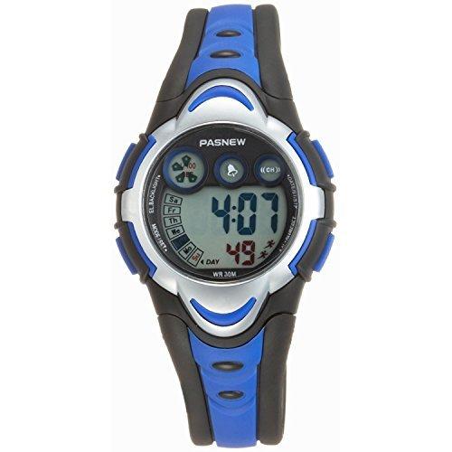 Pasnew Kids' PSE-BL-276g Digital Blue & Black Waterproof Sports Digital Watch