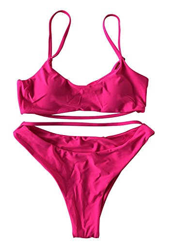 6e007e4a60b7f ESONLAR Swimsuits for Women Cut Out Strappy Push Padded Bikini Top High  Rise Thong Bathing Suits Pink M