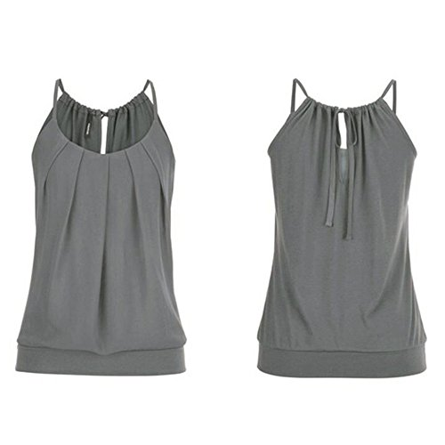 Hengshikeji Clearance Women Summer Loose Wrinkled O Neck Cami Tank Tops Vest Sleeveless Blouse Shirts Teen Girls
