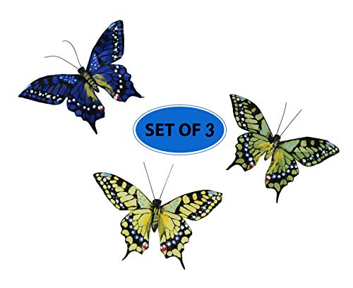 Home-X - 3D Butterfly Fridge Refrigerator Magnets Removable Wall Decor Art Crafts Home Girls Kids Room Party Decoration | Set of 3 (Blue, Yellow and Green)