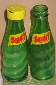Vintage Squirt Soda Bottles Salt & Pepper Shakers in Original Box