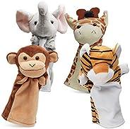 Hand Puppets Jungle Friends [Set of 4] | Elephant, Giraffe, Tiger & Monkey Stuffed Plush Animal Toys for B
