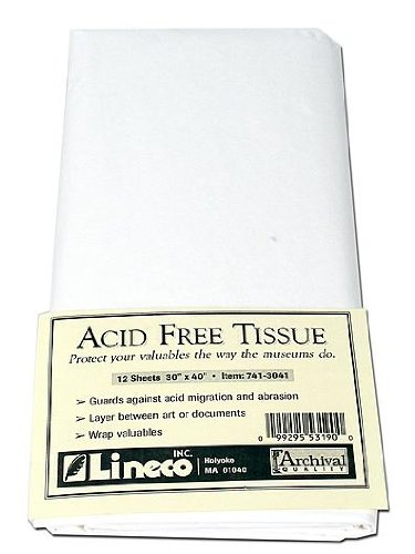 Lineco. Unbuffered Interleaving Tissue Paper. Unbuffered, Acid-Free. 30 x 40 Inches. Protect and Separate Prints, Documents, Letters, Newspaper, and Magazines, Prevent Harm To Your Products. (Pack of 12).