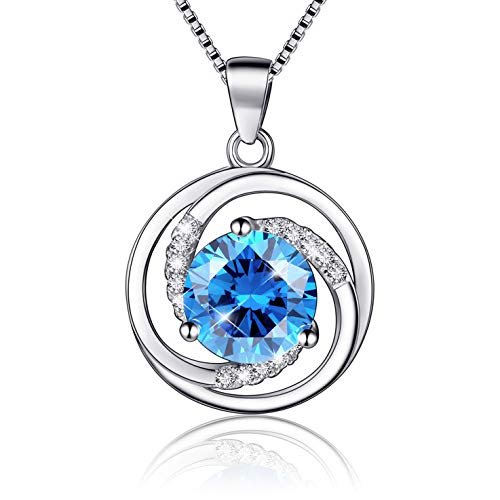 BLOVIN 925 Sterling Silver Blue Round Birthstone Rotate Circle Pendant Necklace, Box Chain 18