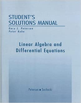Book Student Solutions Manual for Linear Algebra and Differential Equations