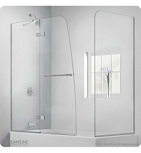 DreamLine Aqua Ultra 57-60 in. W x 30 in. D x 58 in. H Frameless Hinged Tub Door with Return Panel in Brushed Nickel, (04 Aqua Shower Door)