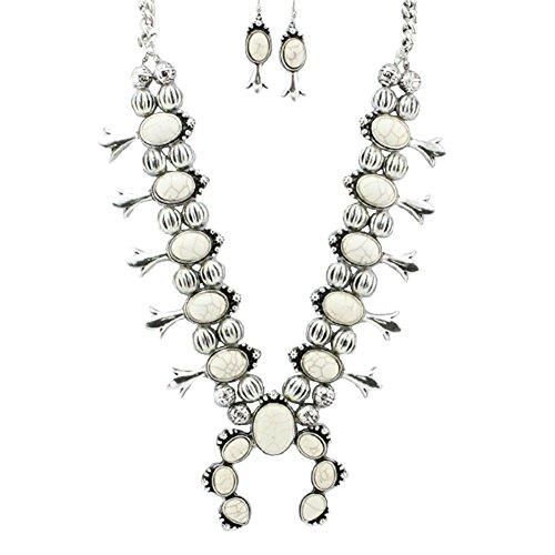 Aris by Treska ARIS Southwestern Navajo Tribal Squash Blossom Necklace Bundle: Necklace & Bag (Heavy Off White) (Chain Necklace Squash)