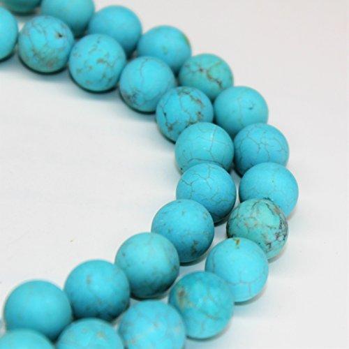 - Lynxus Matte Blue Turquoise Gemstone Loose Beads 10mm 37 Beads Per 15.5